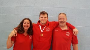 Ciaran with Linda and Pierre after he took bronze at the British U20 Championships.