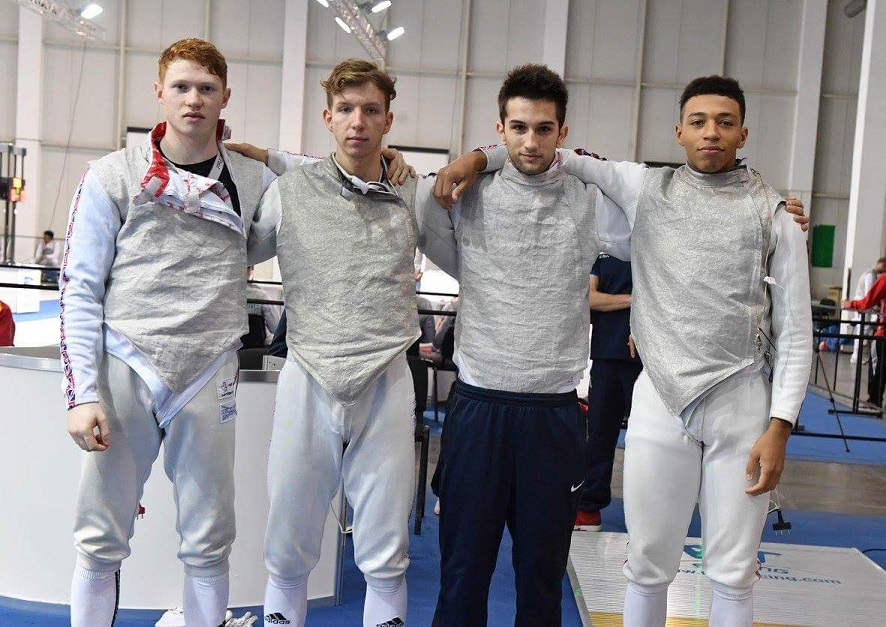 Minott in the GB mens' junior foil team