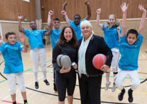 Linda Strachan and Natasha Hart at Lister Community School in Plaistow with members of the junior and senior fencing team (Rachael Shaw (16), Issa Koudou (15), Jalal Tarankil (16), Adil Abdi (12), Lewis Taunton (12), Mohamed Hussain (12)).