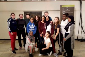 Linda (second left) with Virginia Bailey, British Fencing Participation Manager and Year 8 girls and staff from Frederick Bremer School at the Women of the World Festival at the South Bank Centre. ©Rehnat Rayatt