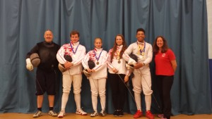 The medallists from both the UK School Games and the Commonwealth Championships. These are the names: Left to right - Pierre Harper (Coach), Ciaran Archer (Commonwealth Gold Medallist), Rachel Shaw (Commonwealth Bronze Medallist), Katrina Feklistova (Commonwealth and UK School Games Gold Medallist), Kamal Minott (UK School Games Double Gold Medallist) and Linda Strachan (Swords Club Manager).