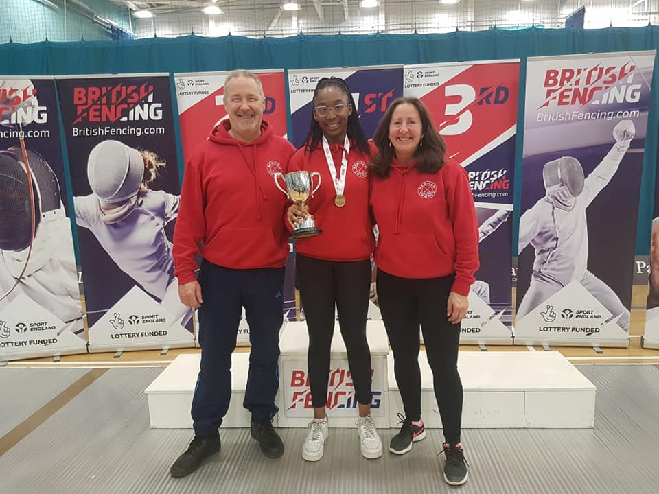 Teagan National Senior Women's Foil Champion 2019 with Linda and Pierre