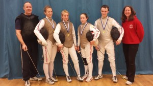 Left to Right - Pierre Harper (Coach), Katrina Feklistova, Rachel Shaw, Alice Campbell, James Page and Linda Strachan (Club Manager)